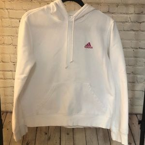 White Adidas Sweatshirt with Pink Logo